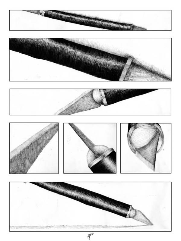 Traditional Poster featuring the drawing Xacto Knife by Kenya Thompson