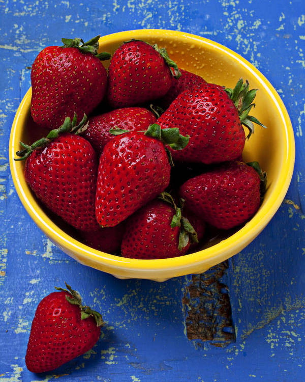 Strawberry Poster featuring the photograph Yellow Bowl Of Strawberries by Garry Gay