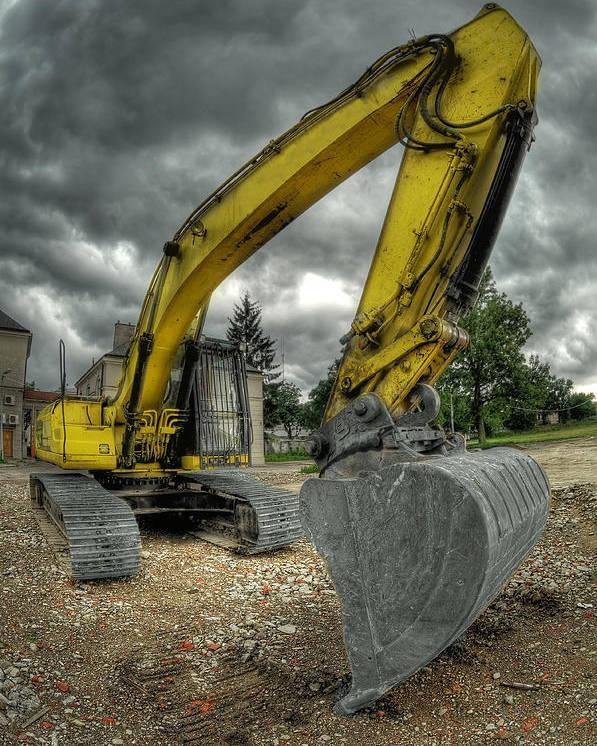 Big Poster featuring the photograph Yellow Excavator by Jaroslaw Grudzinski