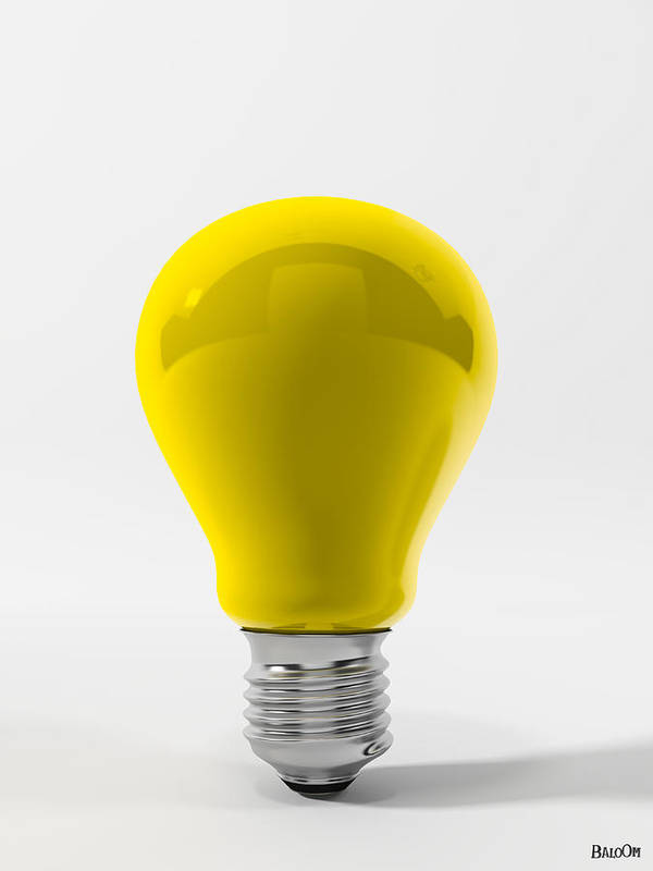 Yellow Lamp Poster featuring the digital art Yellow Lamp by BaloOm Studios
