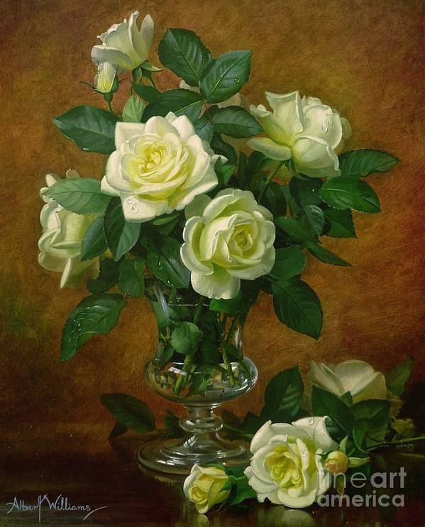 Rose; Still Life; Flower; Arrangement; Glass; Vase; Pale; Floral; Sentimental; Symbolic; Roses; Flowers; Yellow Roses; Leafs; Yellow Roses On Floor Poster featuring the painting Yellow Roses by Albert Williams
