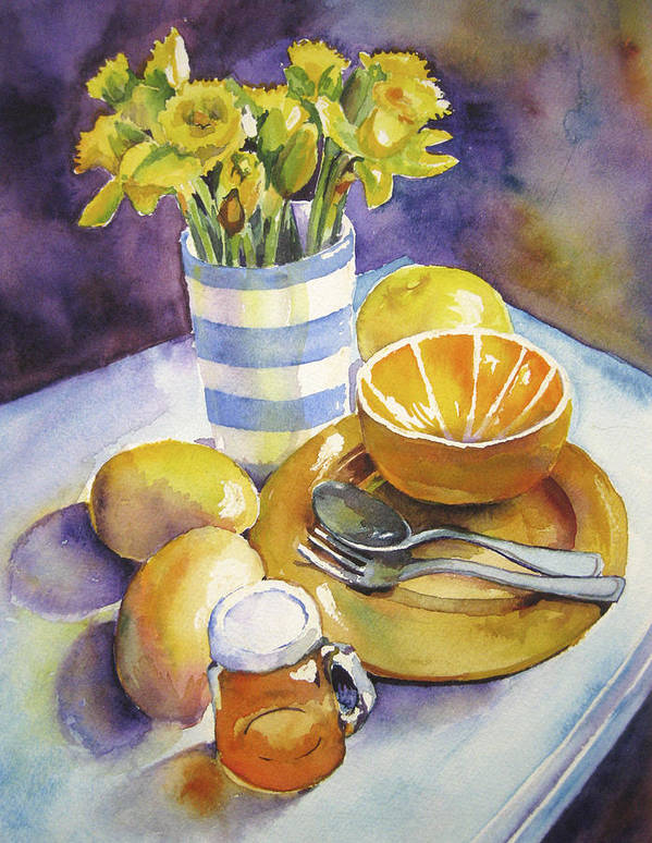 Still Life Poster featuring the painting Yellow Still Life by Susan Herbst