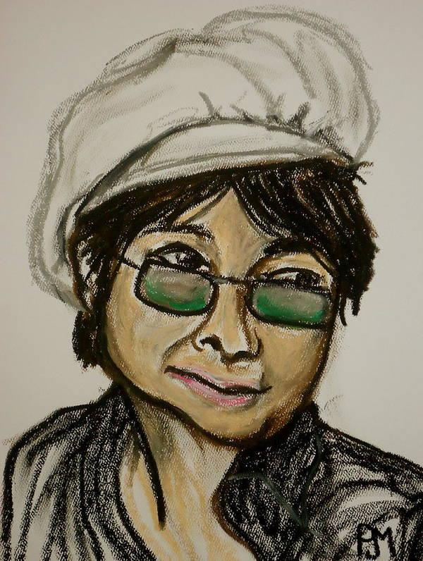Yoko Ono Poster featuring the drawing Yoko by Pete Maier