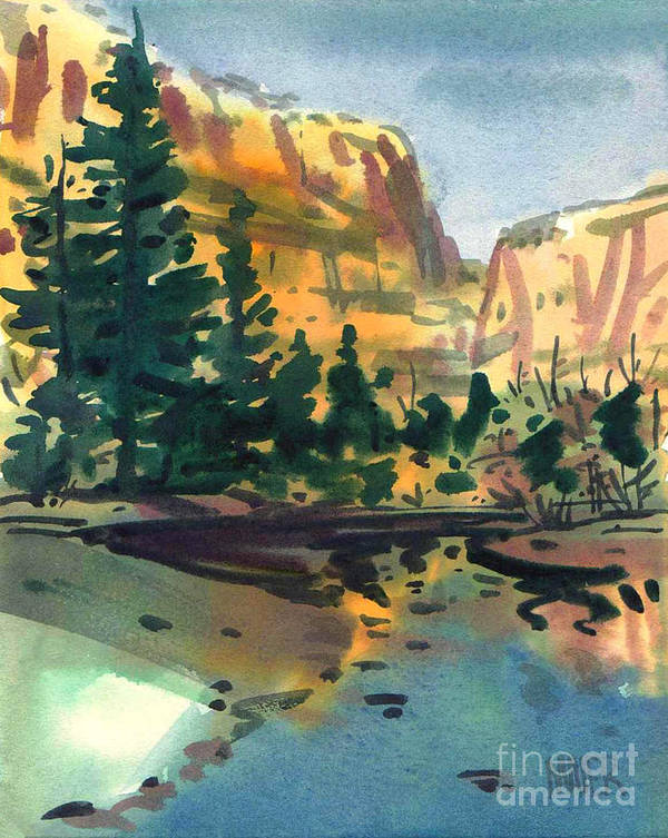 Watercolor Poster featuring the painting Yosemite Valley In January by Donald Maier