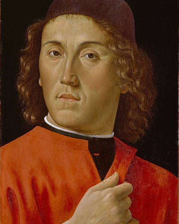 Young Poster featuring the painting Young Man by Domenico Ghirlandaio