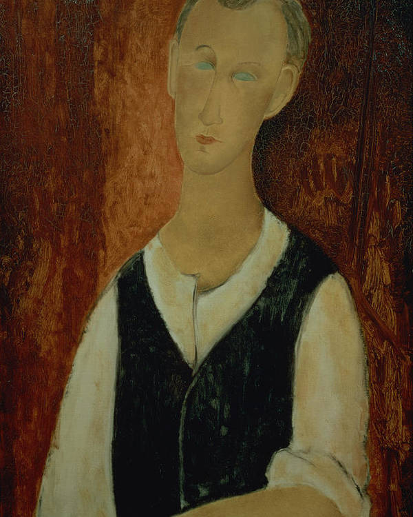 Portrait; Male; Elongation; Blue Eyes Poster featuring the painting Young Man With A Black Waistcoat by Amedeo Modigliani