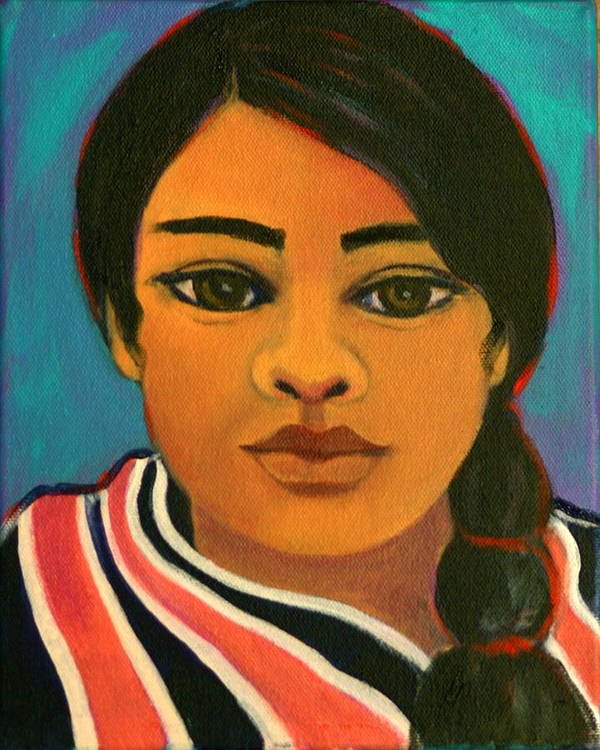 Portrait Poster featuring the painting Young Mexican Girl by Susan Santiago