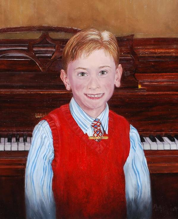 Boy Poster featuring the painting Young Piano Student by Phyllis Barrett