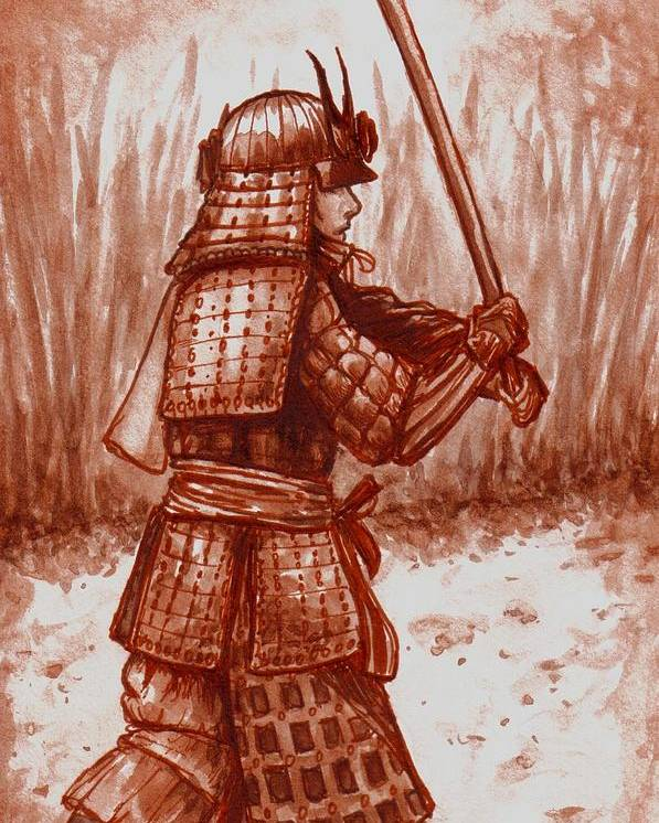 Warrior Samurai Japanese Watercolor Faeorain Poster featuring the painting Young Warrior by Faeorain Ui Neill
