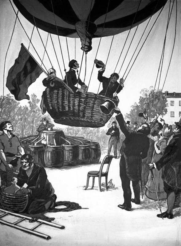 Yakov Zakharov Poster featuring the photograph Zakharov's Balloon Flight, 1804 by Ria Novosti