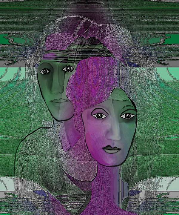 Mermaid Poster featuring the digital art 300 - Couple Purple - Green by Irmgard Schoendorf Welch