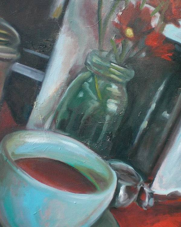 Diner Poster featuring the painting A Cup Of Joe by Aleksandra Buha