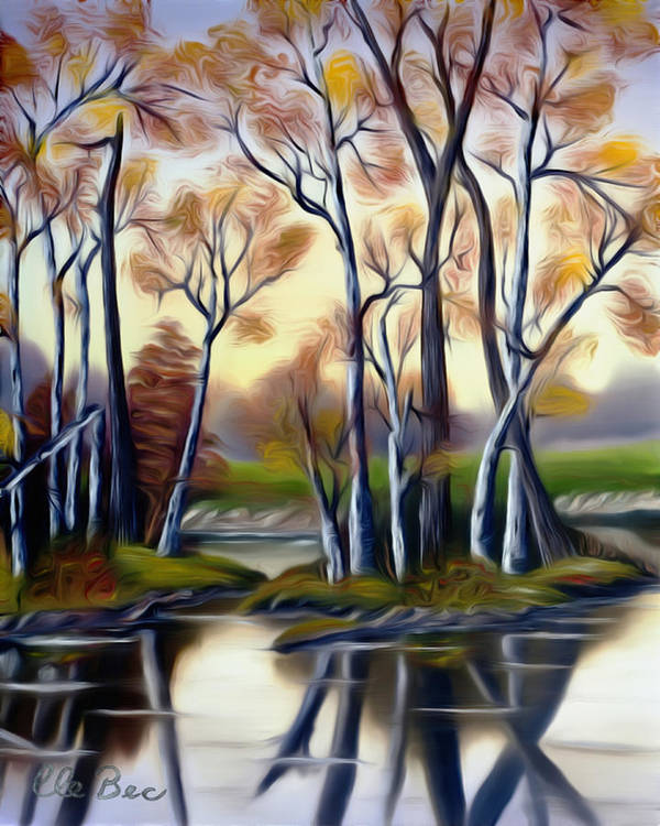 Birch Poster featuring the painting Birch Bay Lagoon Dreamy Mirage by Claude Beaulac