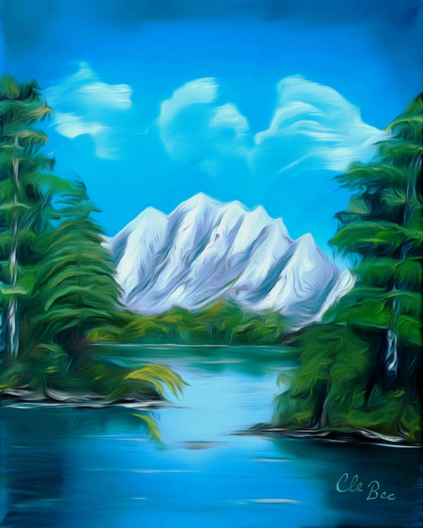 Canada Poster featuring the painting Blue Lake Mirror Reflection Dreamy Mirage by Claude Beaulac