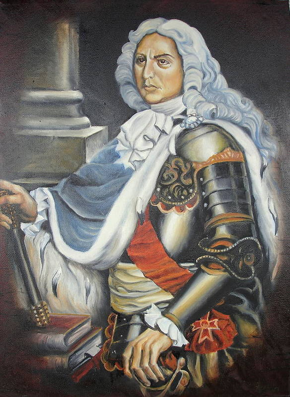 Portrait Poster featuring the painting D.cantemir by Sorin Apostolescu