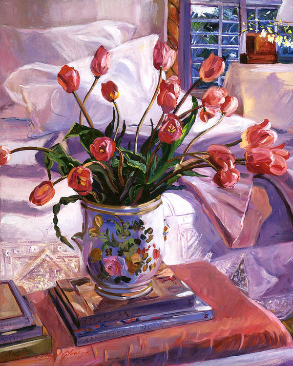 Tulips Poster featuring the painting Fresh Tulips by David Lloyd Glover
