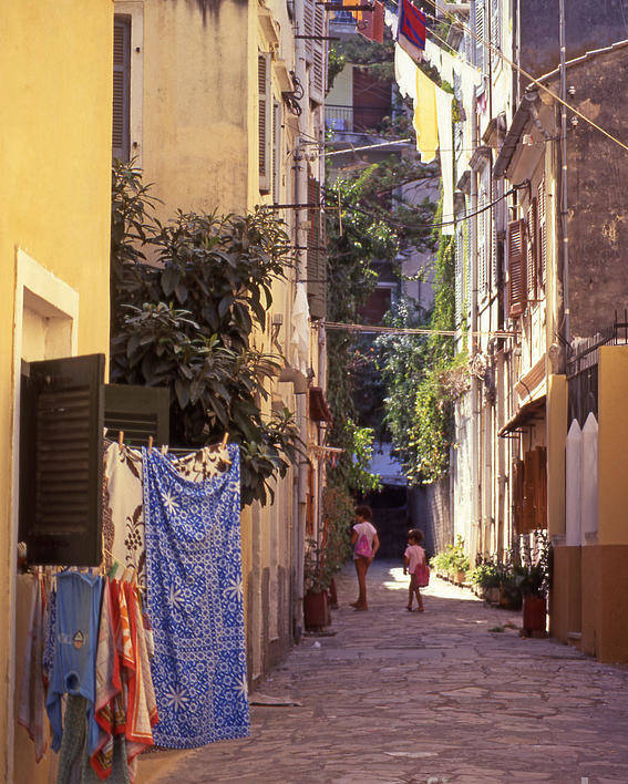 Corfu Poster featuring the photograph Greece. Venetian Street In Corfu Old Town. by Steve Outram