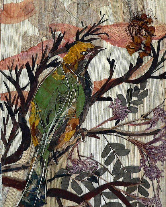 Green Bird Poster featuring the mixed media Green-yellow Bird by Basant Soni