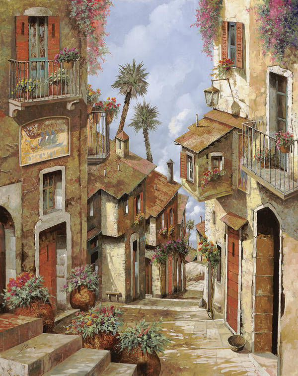 Landscape Poster featuring the painting Le Palme Sul Tetto by Guido Borelli