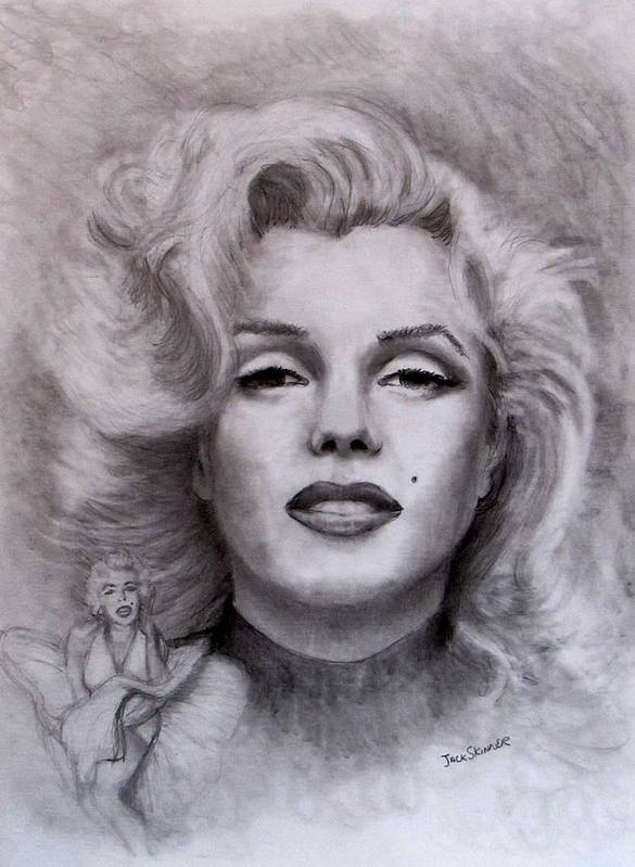 Marilyn Poster featuring the drawing Marilyn by Jack Skinner