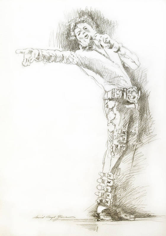 Michael Jackson Poster featuring the drawing Michael Jackson Live by David Lloyd Glover