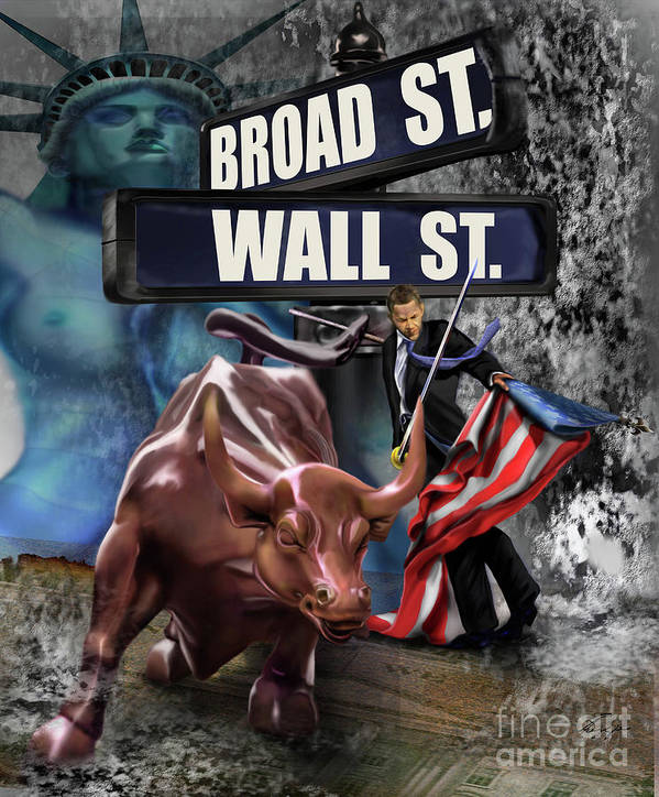 Wall Street Poster featuring the painting Ole Obama - Ole - Ole - Ole by Reggie Duffie