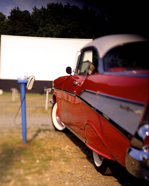 \'57 Poster featuring the photograph Red Chevy At The Drive-in by Robert Ponzoni
