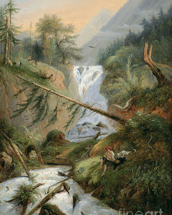 Alexandre Calame Poster featuring the painting Shepherd Resting By The Waterfall by Celestial Images