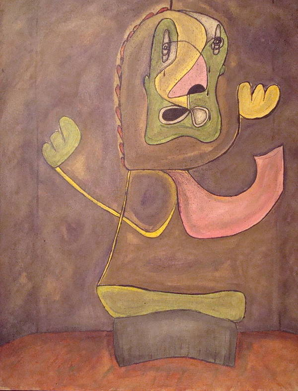 Abstract Face Poster featuring the painting Sitting Stone by W Todd Durrance