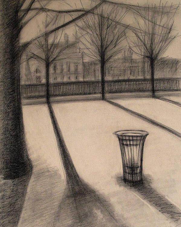 Paris Poster featuring the drawing The evening in Tuileries Paris by Raimonda Jatkeviciute-Kasparaviciene