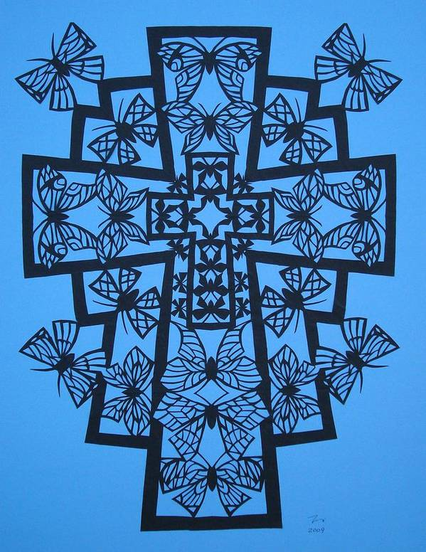 Beliefs Poster featuring the mixed media 001 Butterfly-cross by Tong Steinle