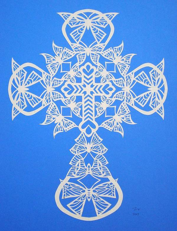 Beliefs Poster featuring the mixed media 002 Butterfly-cross by Tong Steinle