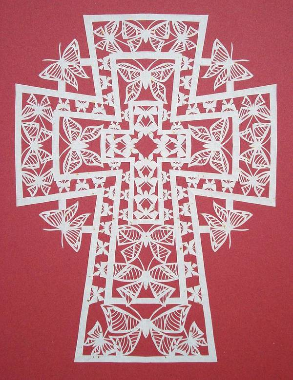 Beliefs Poster featuring the mixed media 005 Butterfly-cross by Tong Steinle