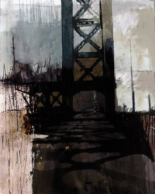 Bridge Poster featuring the painting 083 Manhattan Bridge by Mahnoor Shah