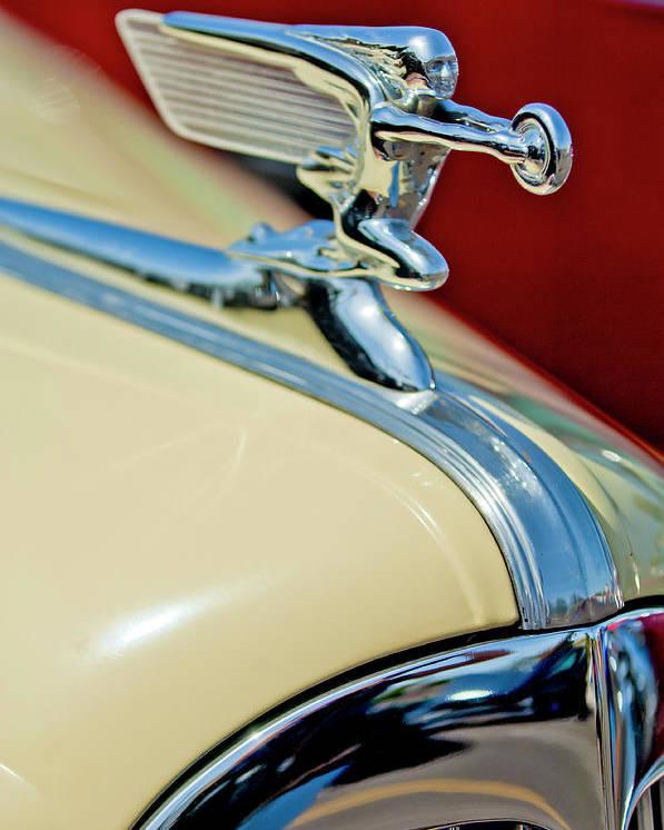 1940 Packard Poster featuring the photograph 1940 Packard Hood Ornament by Jill Reger