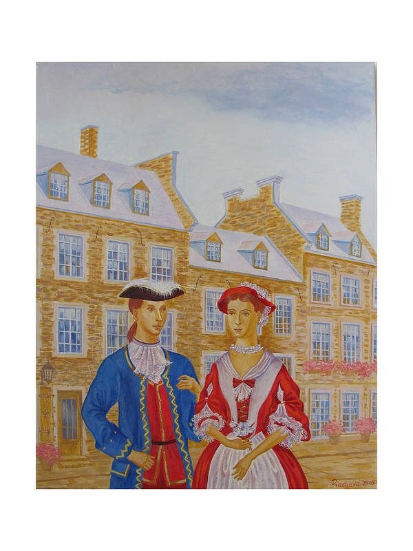 Figures Poster featuring the painting A Gentlemen With His Lady . by Natalia Piacheva