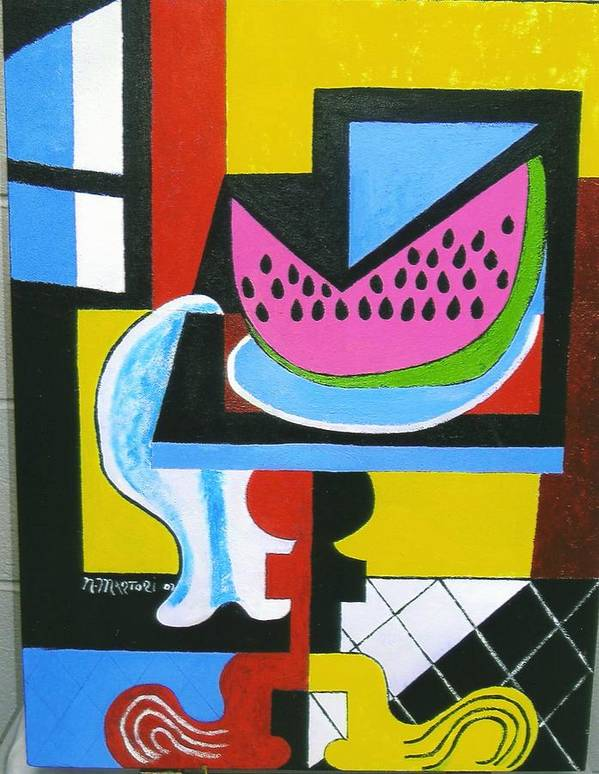 Abstract Poster featuring the painting Abstract Watermelon by Nicholas Martori