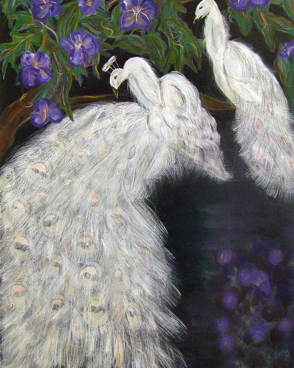 Peacocks Poster featuring the painting Albino Peacocks by Mikki Alhart
