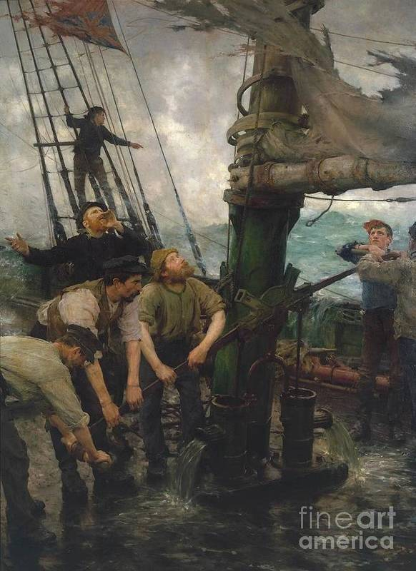 Henry Scott Tuke Poster featuring the painting All Hands To The Pumps by MotionAge Designs