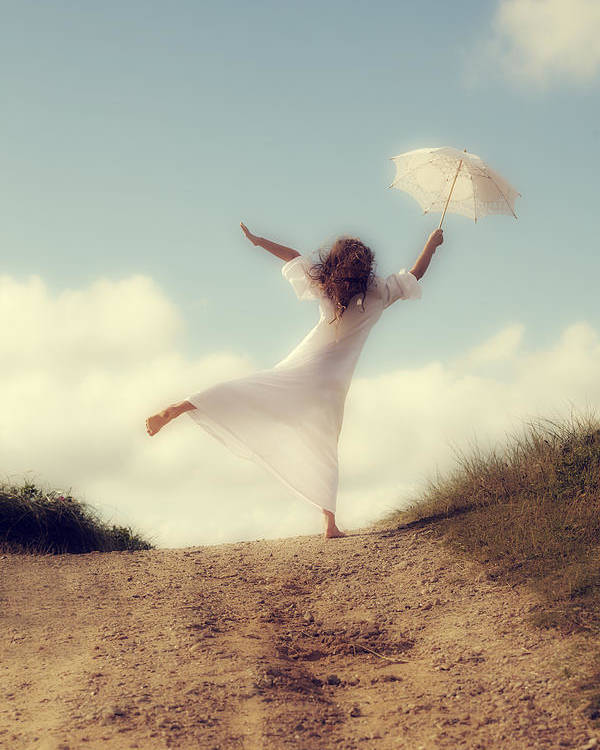 Girl Poster featuring the photograph Angel With Parasol by Joana Kruse