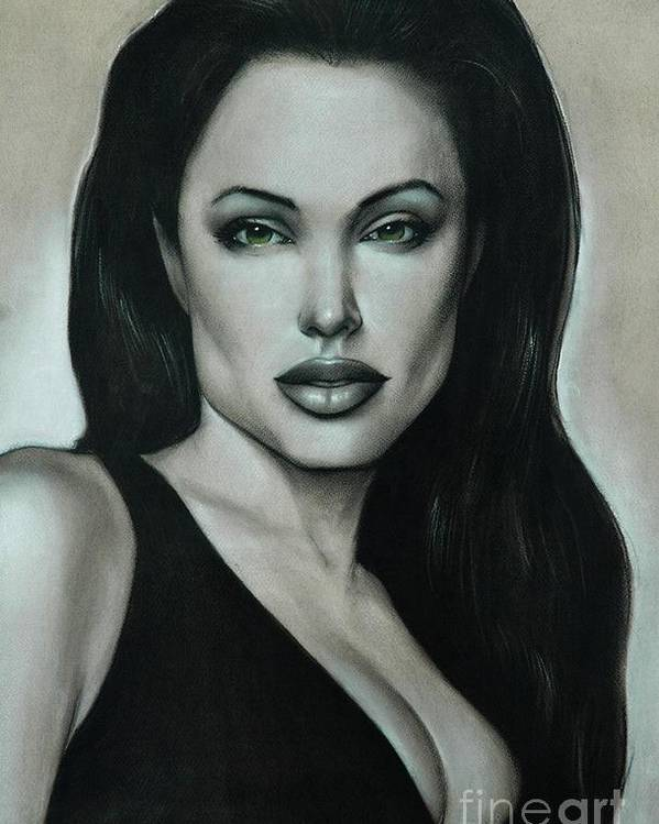 Angelina Jolie Poster featuring the painting Angelina Jolie by Anastasis Anastasi