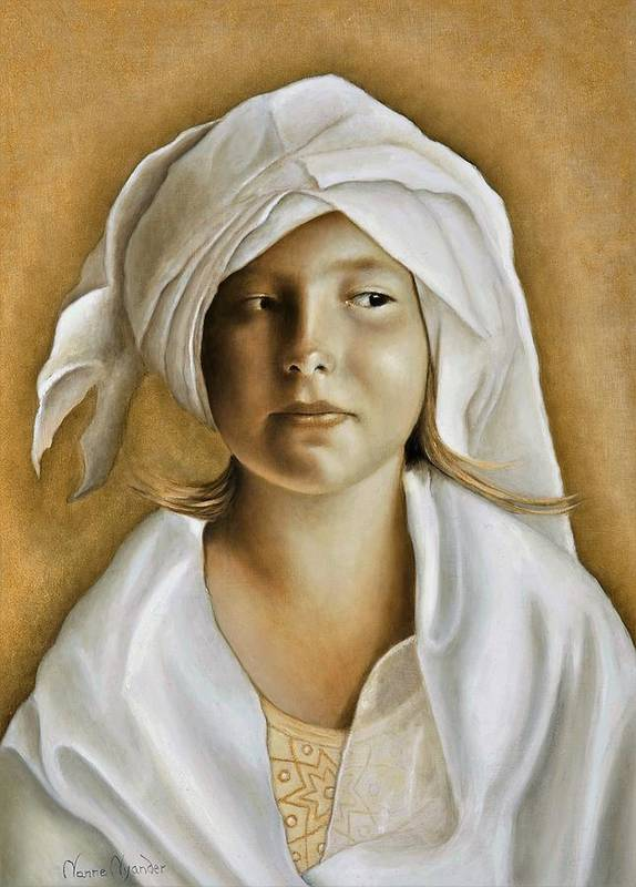 Portrait Poster featuring the painting Angelinn by Nanne Nyander