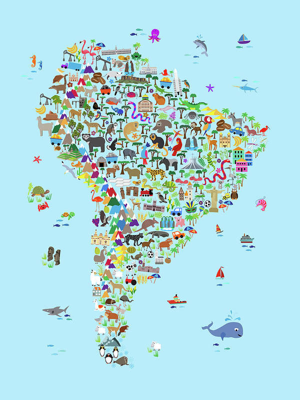 Animal Map Of South America For Children And Kids Poster by Michael ...
