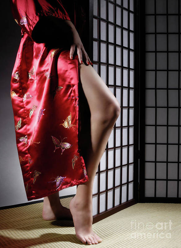 Asian Poster featuring the photograph Asian Woman In Red Kimono by Oleksiy Maksymenko