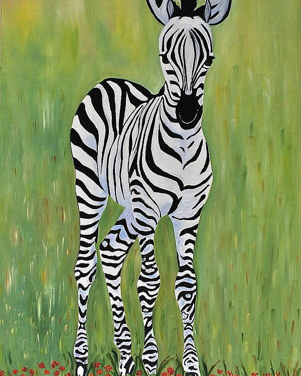 Wild Animal Poster featuring the painting Baby Zebra by Dorota Nowak