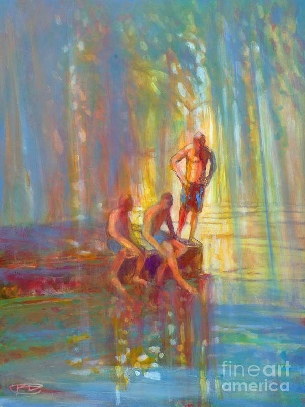 Swimmers Poster featuring the painting Before The Swim by Kip Decker