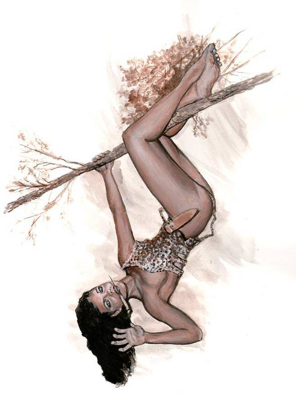 Betty Page Poster featuring the painting Betty Jungle Girl by Will Brown