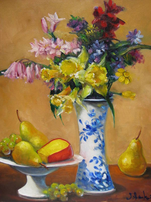 Still Life Poster featuring the painting Blue And White Vase by Susan Jenkins