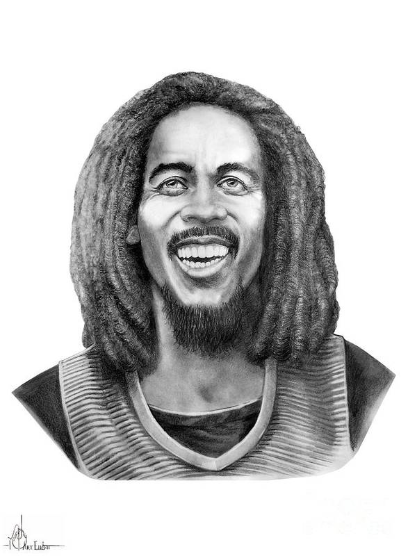 Bob Marley Poster featuring the drawing Bob Marley by Murphy Elliott