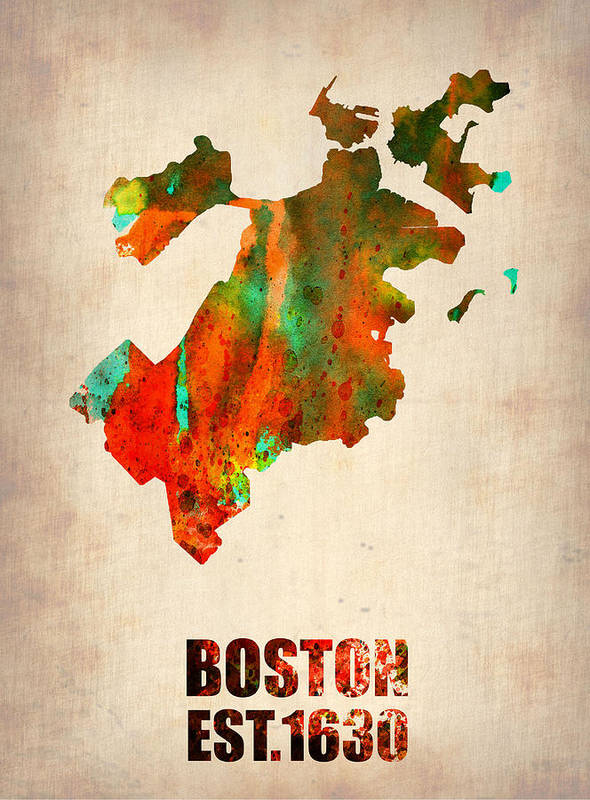 Boston Poster featuring the mixed media Boston Watercolor Map by Naxart Studio